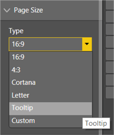 This section shows on how to select Tooltip in Type dropdown under Page Size Section.