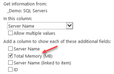 """_Demo: SQL Server Instances"" – Update Server Name lookup column"