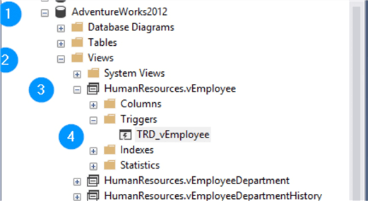 These are the steps to find view scoped triggers in SSMS.