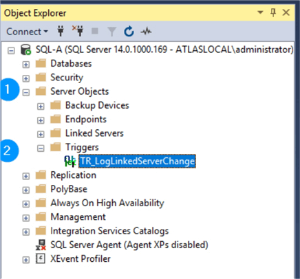These are the steps to find server scoped triggers in SSMS.