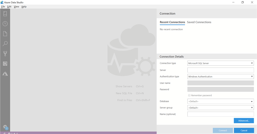 Connection dialog in Azure Data Studio
