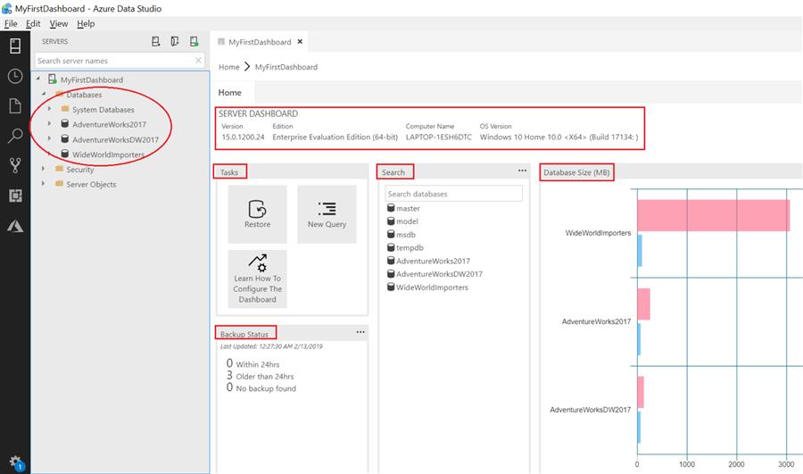 Customize Azure Data Studio with Dashboard Widgets