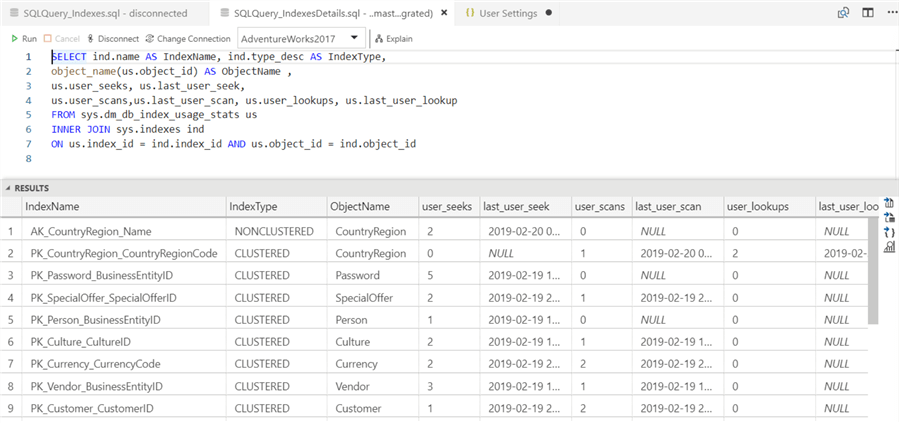 Execute details query in Azure Data Studio.