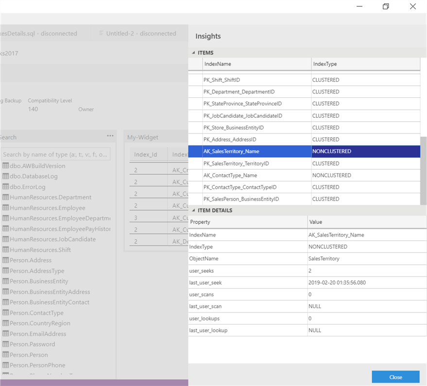 NonClustered index details insights in Azure Data Studio.