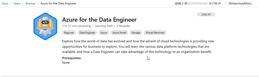 microsoft learn azure for the data engineer