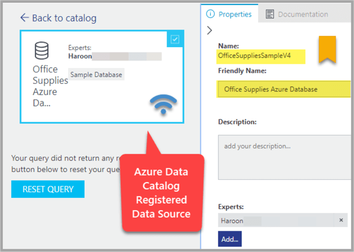 Data Source registered with Azure Data Catalog