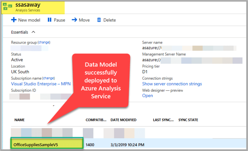 Data Model deployed successfully on Azure Analysis Services