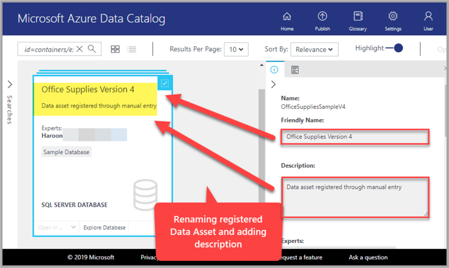 Renaming a registered data source and adding description