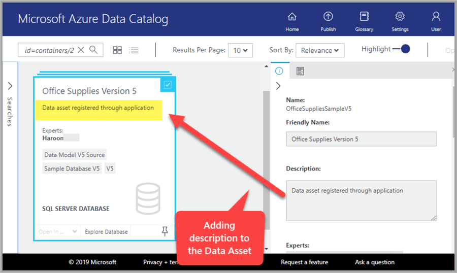 Adding description to the data asset Office Supplies Version 5
