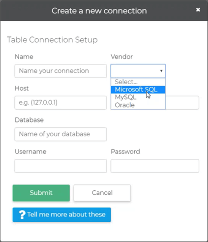 Create a new database connection in Unison