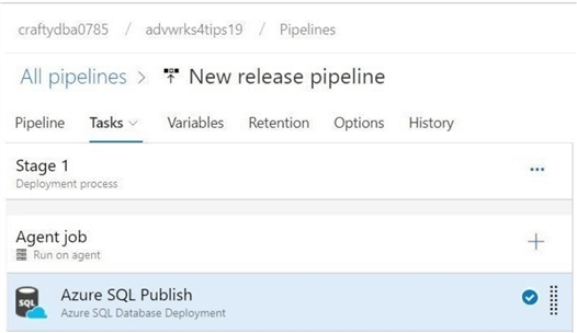 Release Pipeline - The tasks - Only one task is needed to deploy the project.