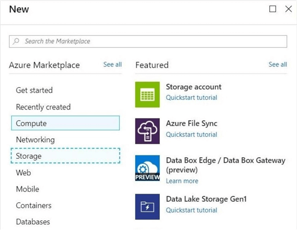 Azure Portal - Create Resource Button - Use the menu to select a normal storage account creation.