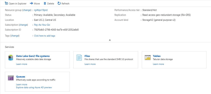 Azure Portal - Storage Account - The overview page now shows ADLS Gen 2 file system instead of Blob Storage.