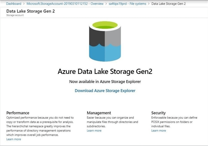 Azure Portal - Azure Storage Explorer - The portal can not be used to manage the file system or access control lists.