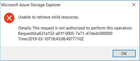 Azure Storage Explorer - Failed operation - A refresh of the file list generates an access request exception.