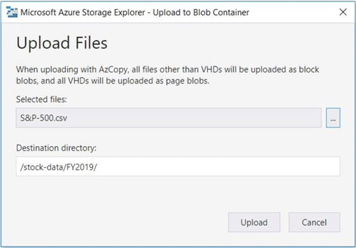 Azure Storage Explorer - Upload Files - This action will succeed due to security.