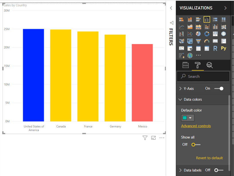 "Show All - This image shows on how to turn on the ""Show All"" option in Data color section"