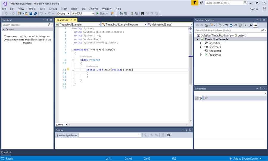 Workspace in Visual Studio for our newly created .NET Console App.