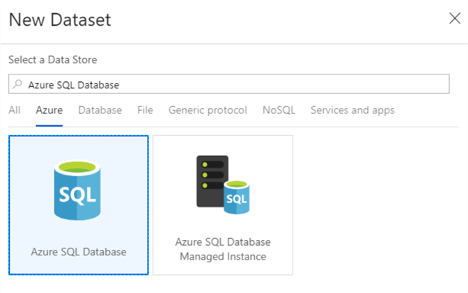 Select Azure SQL Database as source