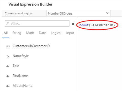 Configuring aggregate function using Visual Expression Builder
