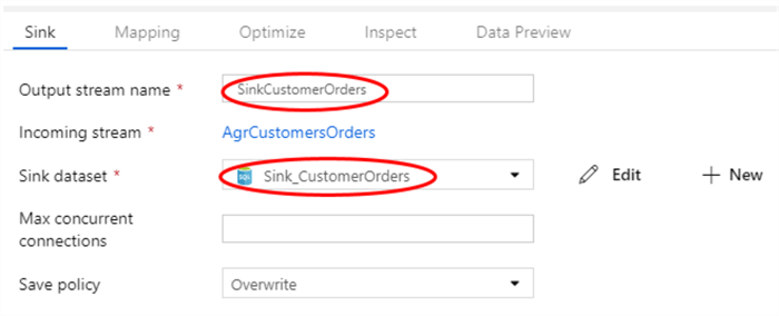 Sink configuration in Azure Data Factory