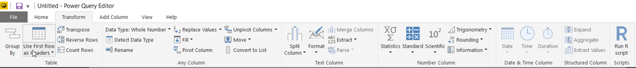 Power Query IDE basic transformations tab 2
