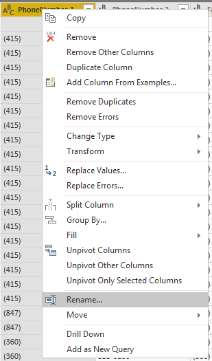 Power Query - rename column