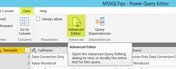 Power Query - Access advanced M editor