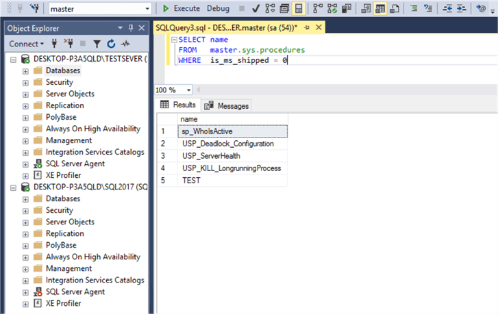 Getting a user defined procedure list from master database in source server