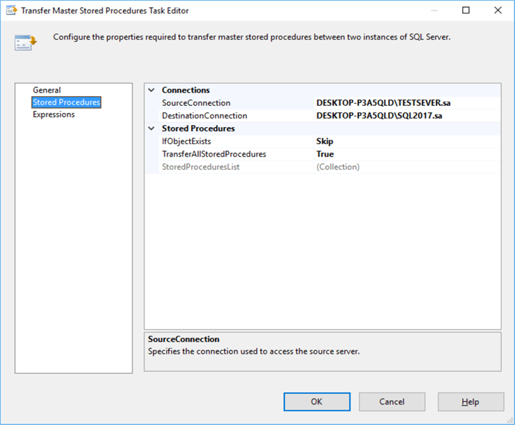 Configure of Transfer Master Stored procedure task