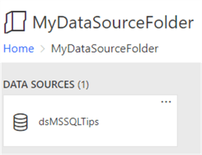 The contents of the folder from the root contains a data source object.