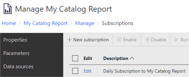 "The SSRS GUI shows a single subscription created against the report ""My Catalog Report"""