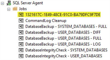 A screenshot of the SQL Server Agent job list in SSMS shows a job with a GUID for a name.