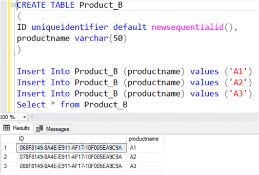Using the newsequentialid function in SQL Server to generate GUIDs