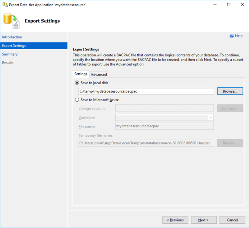 Export Data-tier Application Export Settings