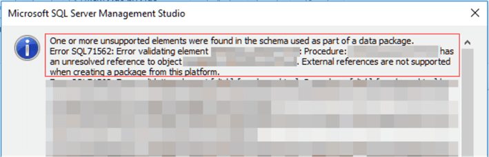 Errors from the Export Data-tier Application