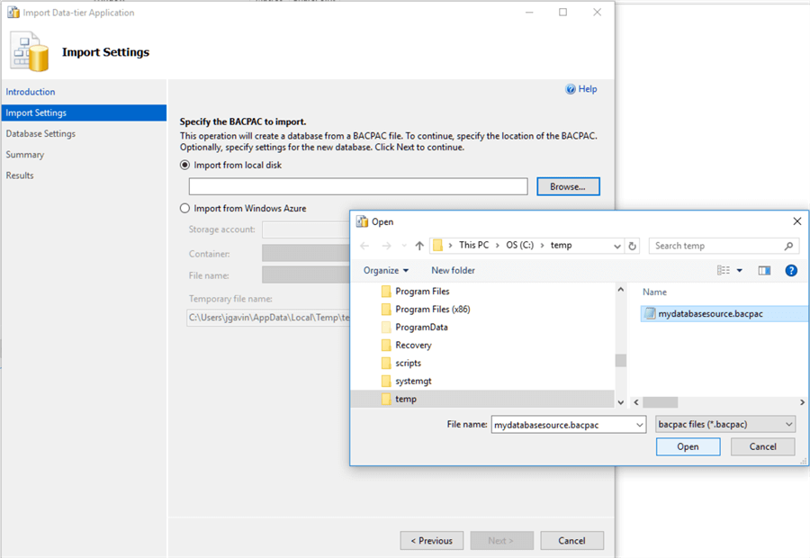 Import Data-tier Application Import Settings