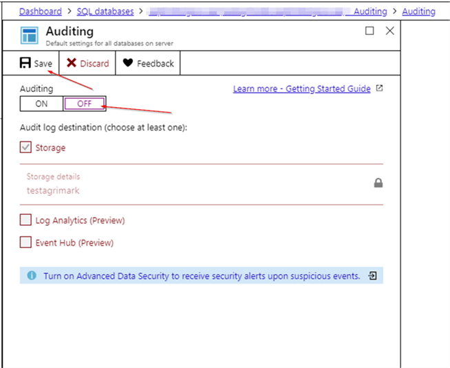 Turn off Auditing in Azure.