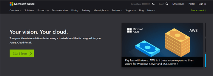 Microsoft Azure Home Page