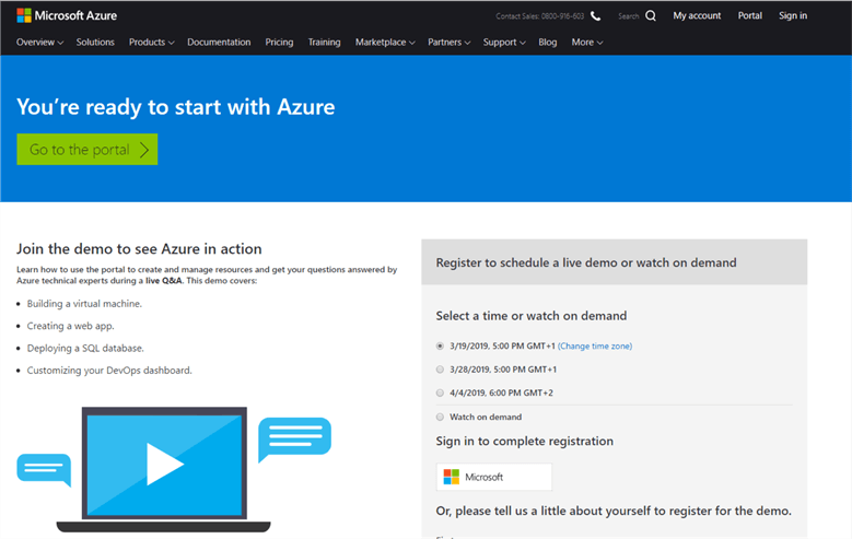 Page that takes you to the Azure ML dashboard