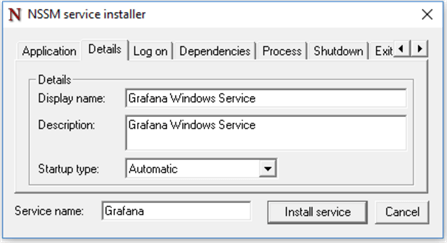 Changing the display name of the Grafana Windows service