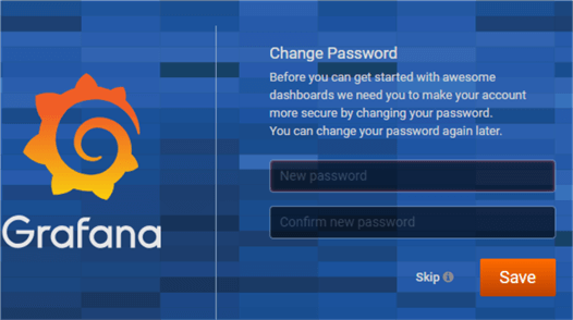 Grafana prompt for changing the default password