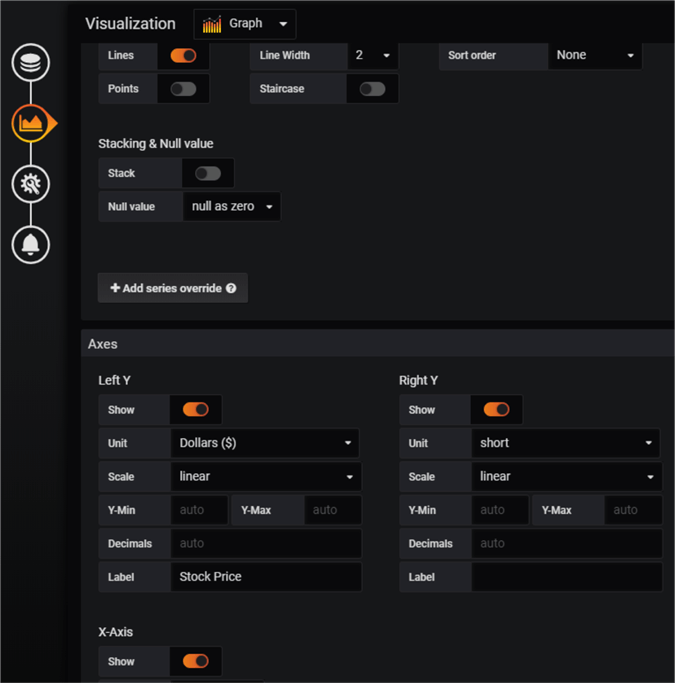 Grafana panel visualization options