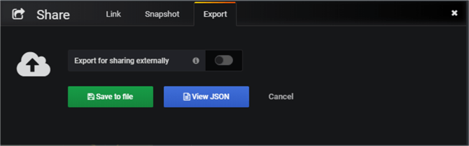 Exporting Grafana dashboard as a JSON file