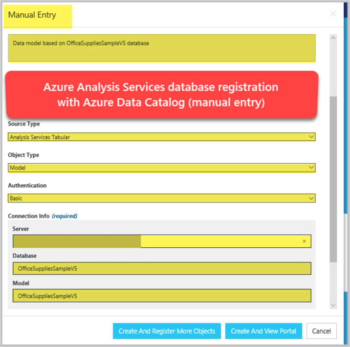 Azure Analysis Services database registration with Azure Data Catalog (manual entry)