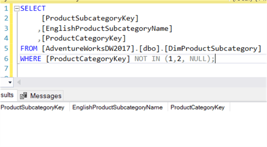 SQL Server NOT IN with NULLs