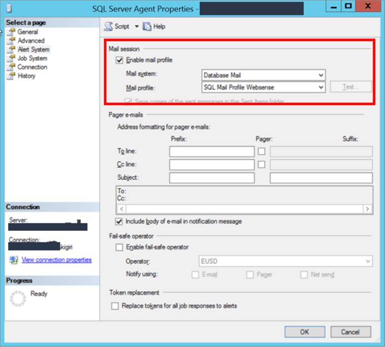 Enable SQL Server Agent Mail Profile