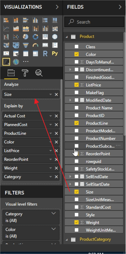 Analyze Item in Power BI