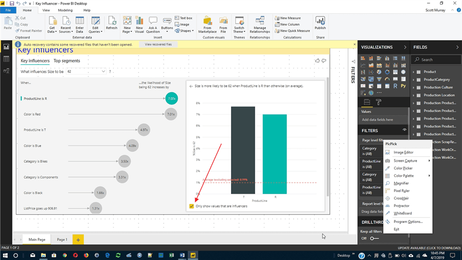 Ignore values option in Power BI