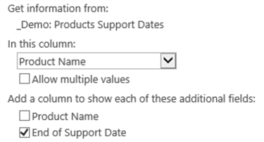 """OS:End of Support Date�  - Lookup column and additional fields"